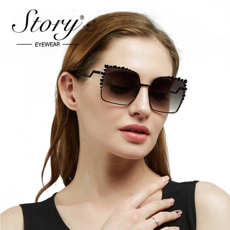 STORY Luxury Sunglasses Women Big Frame Gradient UV400 Sexy Ladies Sunglass occhiali da  ...
