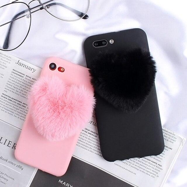 Lông Trái Tim Tình Yêu tóc Dễ Thương Ốp Lưng điện thoại Huawei P Smart Plus 2019 P30 Pro P20 Lite P9 P8 Lite 2017 P10 Chụp Hình Selfie mini Ốp Điện Thoại