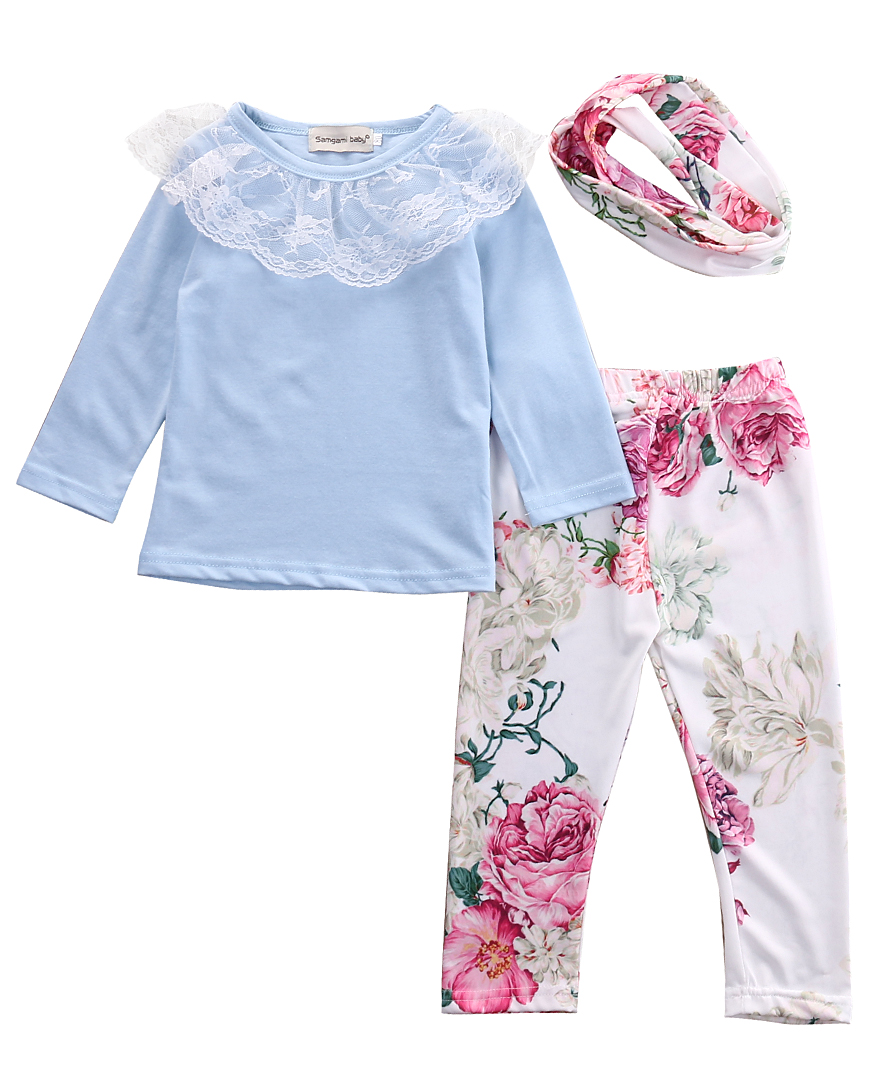 3pcs Spring/Autumn Babies Girl Outfit Newborn Kids Baby Girls Lace Tops T-shirt+Floral Pants+Headband Outfits Set Clothes 2016 new girls flowers lace 3pcs clothes sets spring autumn kids coat long sleeved t shirt pants cute patter girl set high grade