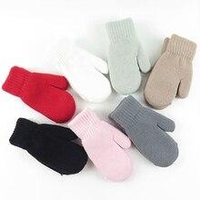 1 пара, Новое поступление, зимние вязаные перчатки для маленьких мальчиков и девочек, теплые рукавицы на веревочке, перчатки для детей ясельного возраста