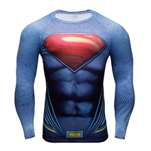 Hot Superhero Men Long Sleeve T Shirt Gym Tights Tops Fitness