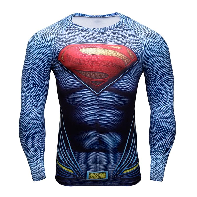 Hot 3D Druck Superheld Superman / Batman Männer Langarm T-shirt G ym - Herrenbekleidung - Foto 3