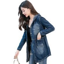 2019 Fashion Streetwear Print Women Denim Jacket Female Hooded Button Slim Coat