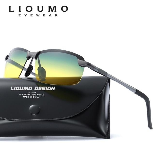 f3436531764 LIOUMO HD Day Night Vision Goggles Polarized Sunglasses men Driving outdoor Glasses  Anti-glare Yellow lens sun glasses oculos