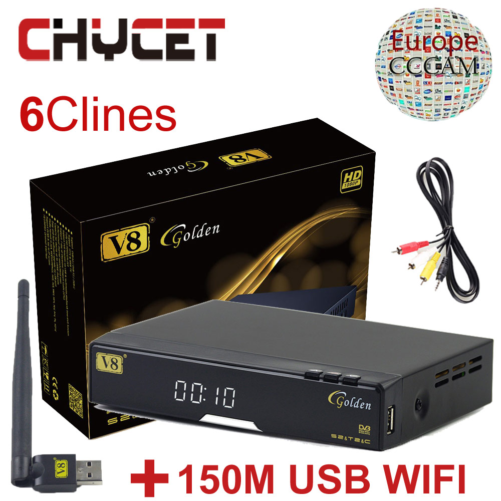 Freesat V8 Golden IPTV Satellite Receiver cccam cline for 1 year europe support DVB-S2 DVB-T2 DVB-C Youtube USB WIFI Set top box