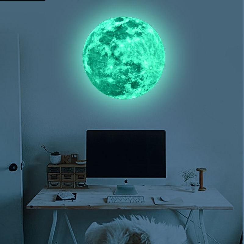Moon, Decoration, Stars, Fluorescent, Wall, Dark