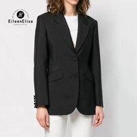 Черная курточка Для женщин 2019 весенние пальто Офисные женские туфли Высокое качество с длинным рукавом Повседневное Женская куртка, пальто