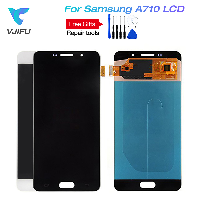 A710 Replacement LCDs For Samsung Galaxy A7 2016 A710 A710F A710M AMOLED Phone LCD Display Touch