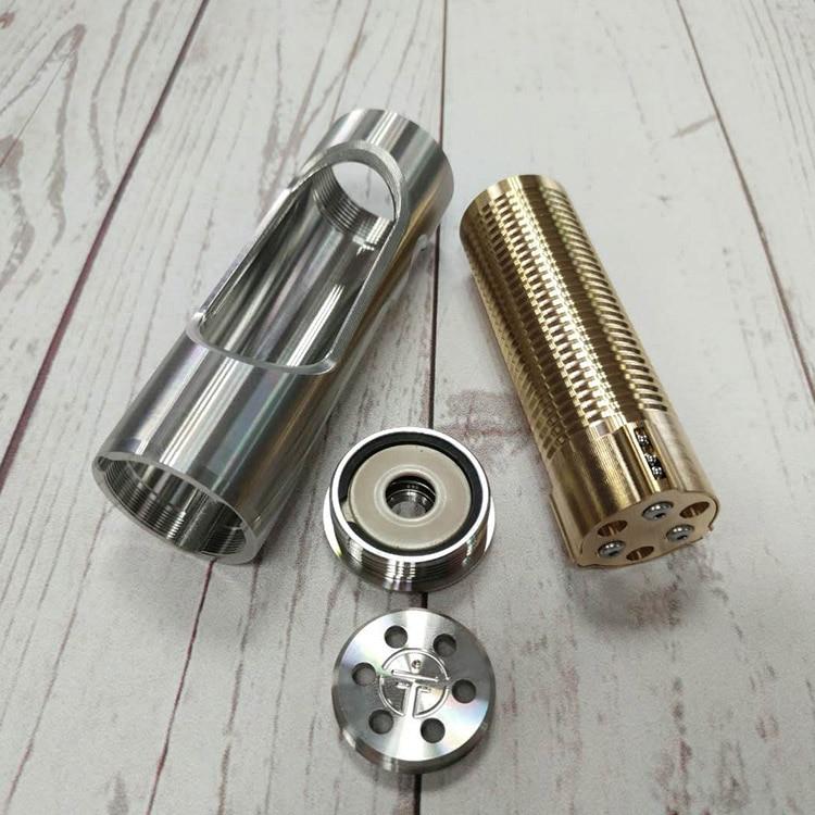 YFTK Noname Oldboy Styled Hybrid Mechanical Mod Silver 316SS 24MM Mech Ecig Mod for 18650 Battery