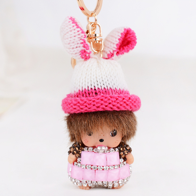 Lovely Monchichi Keychain Luxury Crystal Monchichi dolls Pendant  Rabbit Hat Keyrings Purse bag Charms