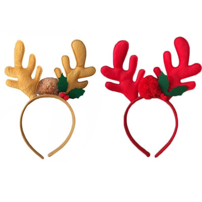 e2c40ed4e360a Children Christmas 3D Reindeer Antlers Hair Hoop Pompom Ball Leaf Party  Headband-in Hair Accessories from Mother   Kids on Aliexpress.com