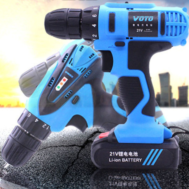 VOTO Battery Rechargeable Cordless Drill Electric Screwdriver Set Lithium Power Tools Screw Gun Driver 12V 16.8V 21V With Case