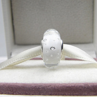 Fits Pandora Bracelets White Fizzle Charm Murano Glass Beads 925 Sterling Silver Jewelry Screw Thread Charms