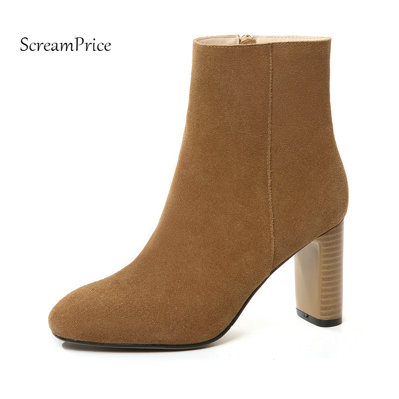 The New Suede Thick High Heel Side Zipper Woman Ankle Boots Fashion Square To Dress Ladies Boots Winter Black Brown