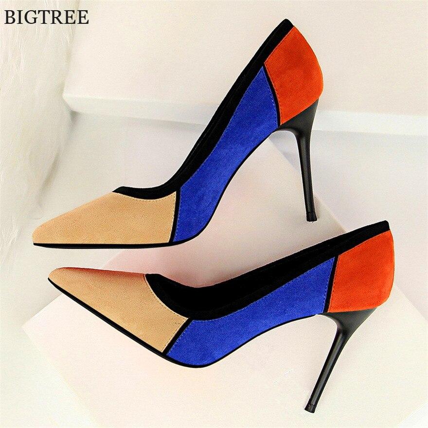 708db61f0 BIGTREE Cores Misturadas Flock Sapatos de Salto Alto das Mulheres Do Dedo  Do Pé Apontado Mulheres Sapatos Da Moda Mulheres Bombas de Sapatos de  Escritório