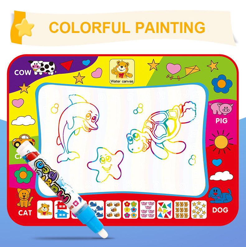 Write Graffiti Pen Doodle Baby Toy Reuse High Quality  Rainbow Color Educational Children'S Magic Water Canvas Blanket Creative
