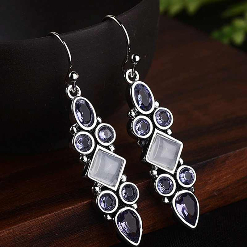 2019 Jewelry Violet Vintage  Silver Color Moonstone Princess Square Rhinestone Earrings Women Girl Fashion Wedding Jewelry