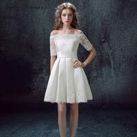 C V Half Sleeves Vintage A Line Short Wedding Dress Lace Appliques Plus Size Satin Beach
