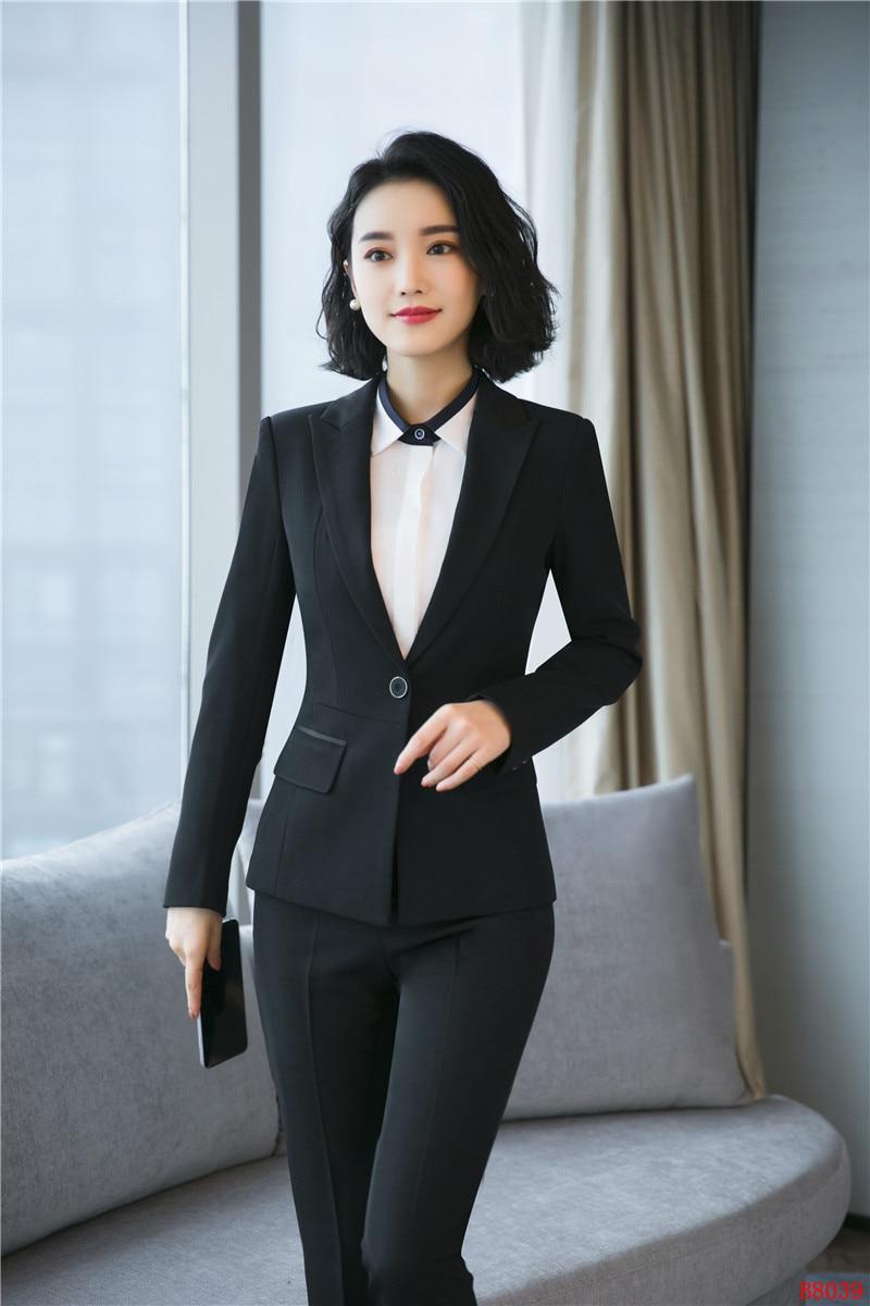 Blazer Dames Et Pantalons Travail Noir Élégant Avec Pour Costumes Veste marine Ensemble Vêtements Bleu Noir Femmes Pantalon Formelles De 4xg41