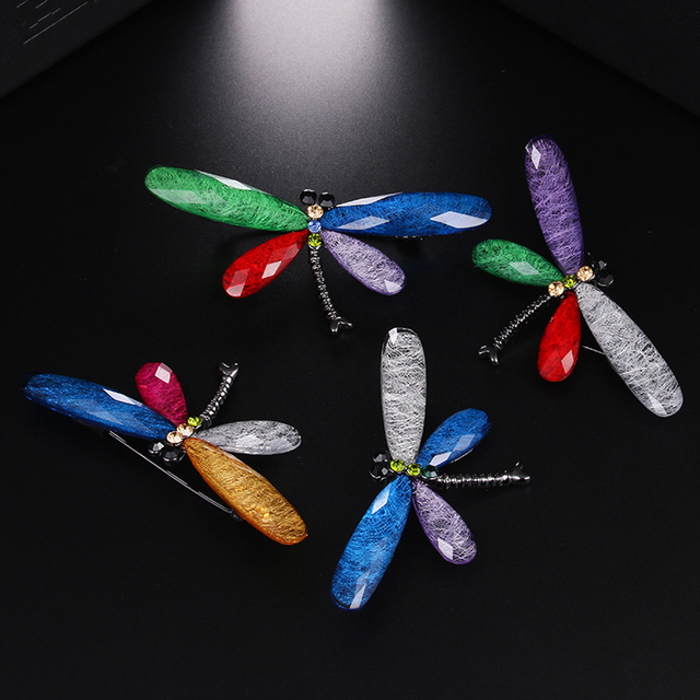 JUJIE Fashion Jewelry Dragonfly Brooches For Women 2019 Muticolor Resin Insect Animal Femme Brooch Pins Dropshipping