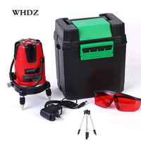 WHDZ 5 lines 6 points 360 degrees rotary LD 635nm outdoor mode receiver and tilt slash available auto line laser level