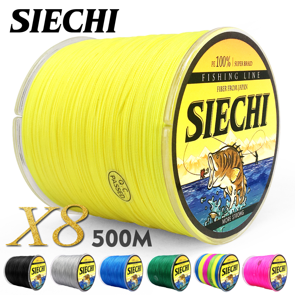 SIECHI PE Braided Fishing Line Multifilament 500M 8 Strands Cord Carp Fishing Lines For Saltwater 20 30 40 50 60 60 80LB frwanf braided fishing line 16 strands 500m multifilament line braided wire 20 500lb hollowcore lines multicolor