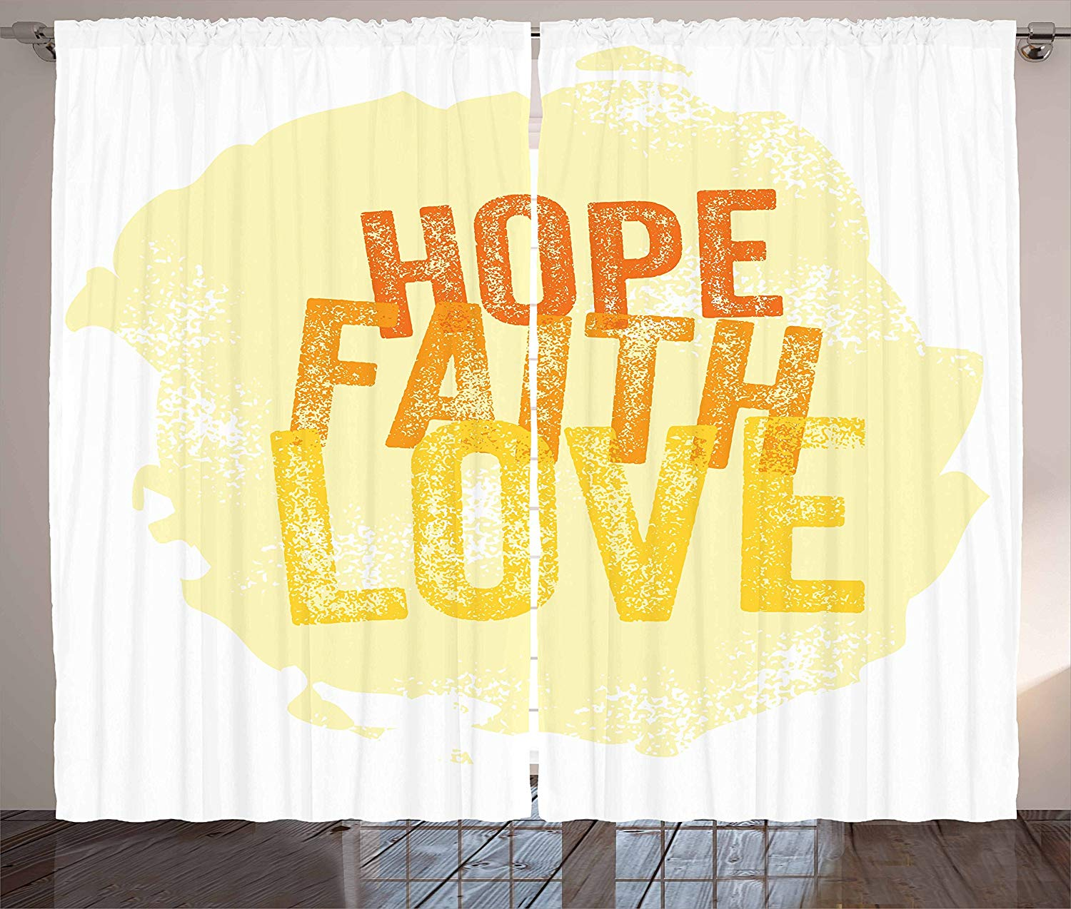 Hope Curtains Inspirational Religious Hope Faith Love Quote With Grunge Letters Living Room Bedroom Window Drapes Orange Yellow
