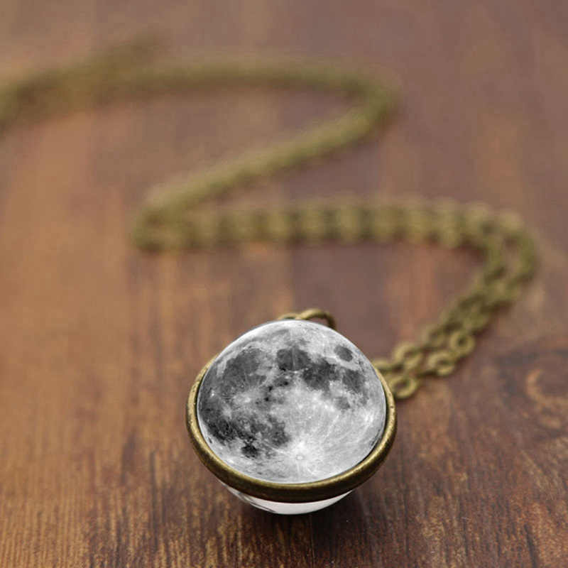 LISTE&LUKE Fashion Women Men Double-sided Grey Full Moon crescent Glass Ball Pendant Necklace Jewelry