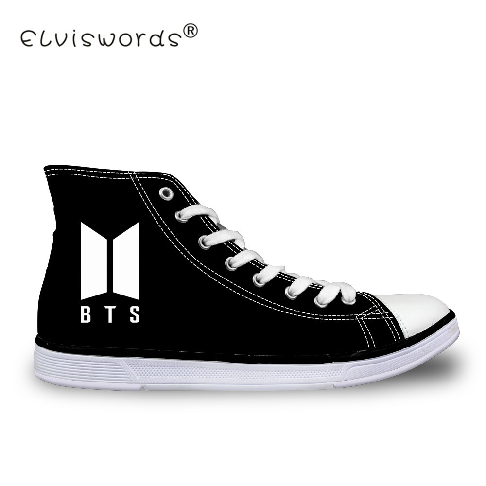 ELVISWORDS Big Size 35-45 High Top Canvas Shoes For Women Kpop BTS Print Lace-up Vulcanize Shoes Sneaker Flat Zapatillas Mujer стоимость
