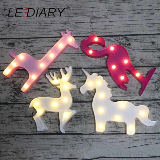 LEDIARY Novelty Animal LED 3D Night Light Unicorn Flamingo Reindeer Giraffe Decoration Children's Room Bedside Lamp Kids Toy AA