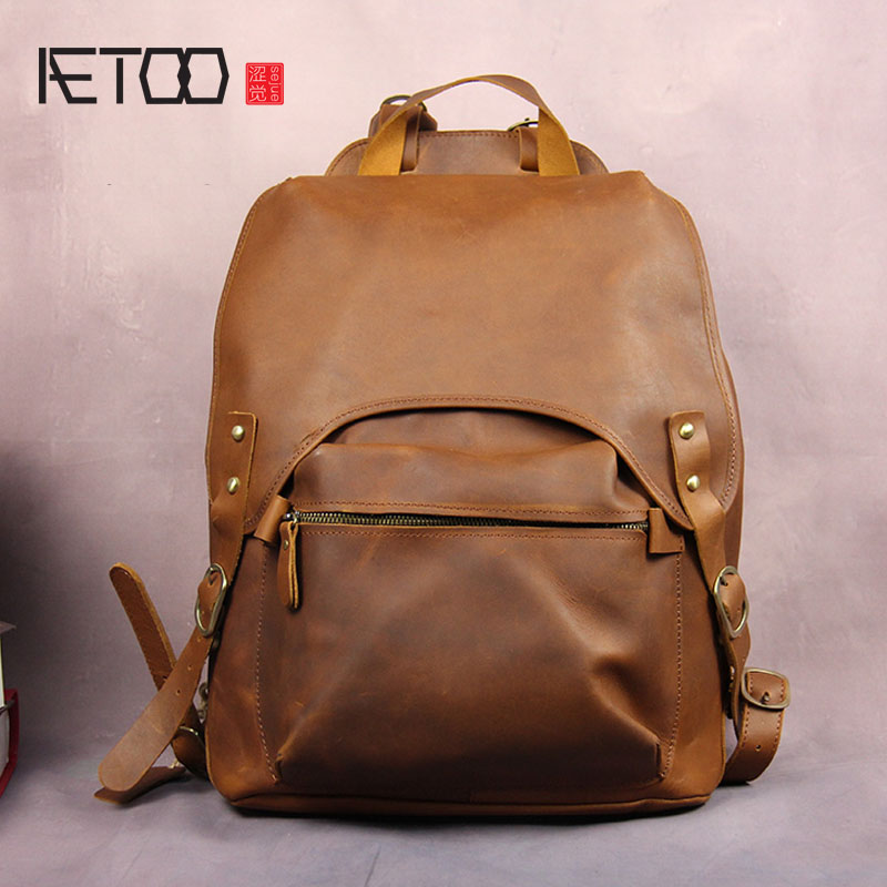 AETOO Retro ham leather handmade cowhide backpack portable male and female universal student book bag oil wax leather travel bag objective ielts advanced student s book with cd rom