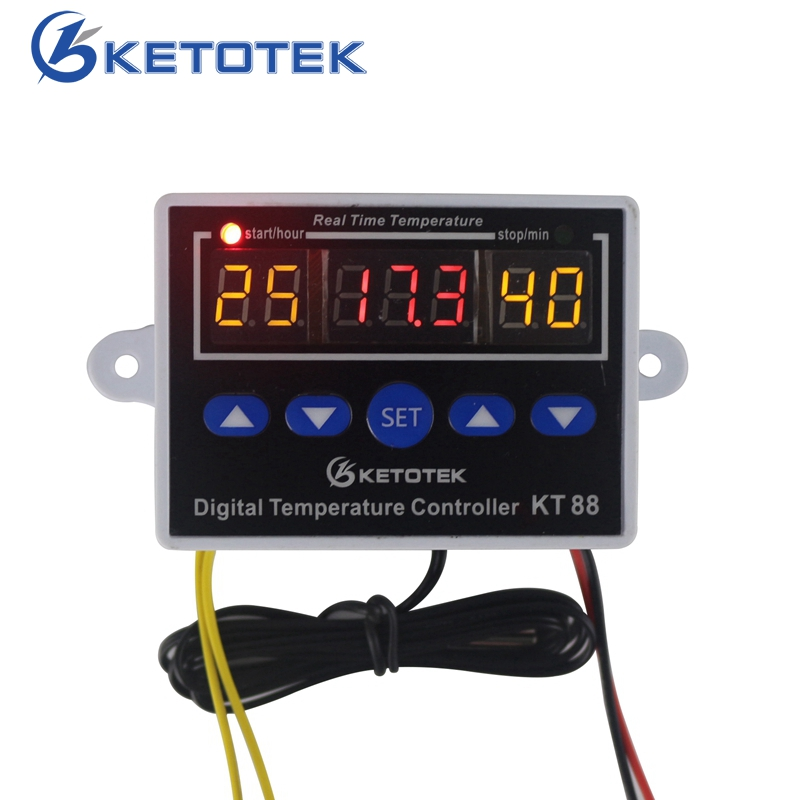 Digital Thermostat 12V 24V 110V 220V Temperature Controller Temperature Control Switch -19~99C Output 10A 220V AC digital thermostat control w1411 220v switch temperature thermometer controller start stop value with waterproof probe 39
