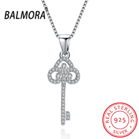 BALMORA 100 Real 925 Sterling Silver Jewelry CZ Crystal Key Pendant Necklaces For Women Lady Silver
