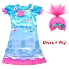 2017 Cartoon Trolls girls dress with wig hair Kids princess Trolls cosplay costume 3-12 Year for party and wedding
