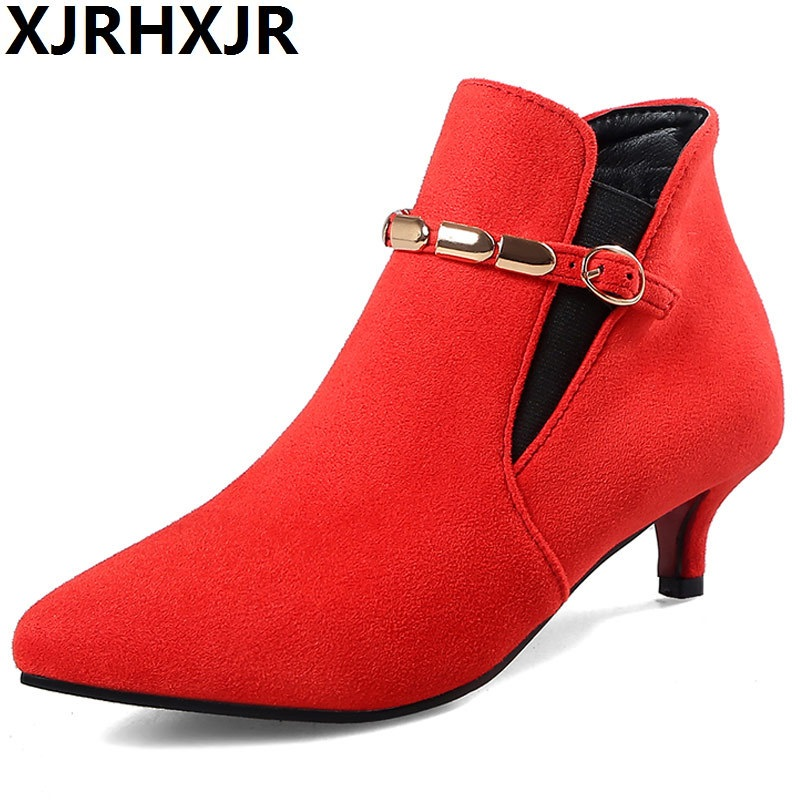 XJRHXJR Brand Woman Autumn Winter Metal Decoration Martin Boots Black Chain High Heeled Shoes Suede Leather Chelsea Ankle Boots autumn winter black gold leather chelsea ankle boots european design man chelsea buckle boots dress metal chain short boots