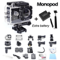 GoPro hero 3 style SJ4000 go pro camera 30M Waterproof 1080P Full HD DVR Sport action Camera two battery + monopod