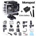 Gopro hero 3 estilo sj4000 ir pro câmera de 30 m à prova d' água 1080 P Full HD DVR Esporte action Camera + duas baterias monopé