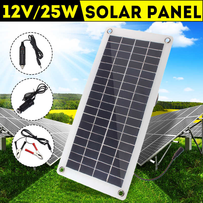 25W 12v/5v Solar Panel USB Power Bank Board External Battery Charging Solar Cell+Crocodile Clip+Cigarette Lighter+Car Charger