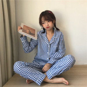 Image 3 - 2019 coreano feminino pijamas conjuntos com calças de algodão pijama xadrez primavera verão pijamas bonito noite wear pijamas