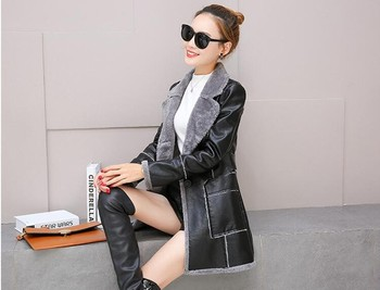 S-XXL  Fur one-piece leather jacket women's  fashion plus velvet winter motorcycle coat coat women's jacket 2019 new