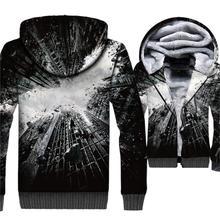 2019 New Style Batman 3D Hoodies Winter Warm Mens Sweatshirts Thick Men Coat  Plus Size Jackets Loose Fit Zipper Tracksuit
