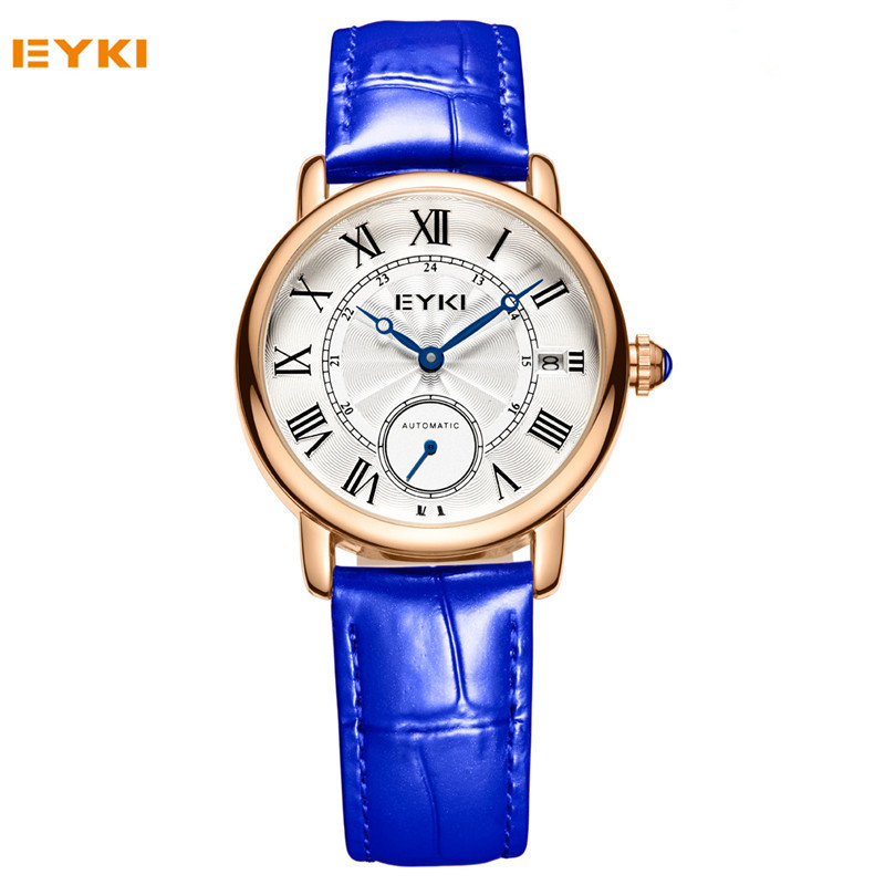 Vintage Ladies Mechanical Watch 2017 Luxury Brand Roman Numeral Hollow Dial Woman Watches Leather Clock reloj mujer Red Blue excellent quality geneva watch women watches reloj mujer dropship 2017 casual roman numerals pu leather mechanical clock luxury