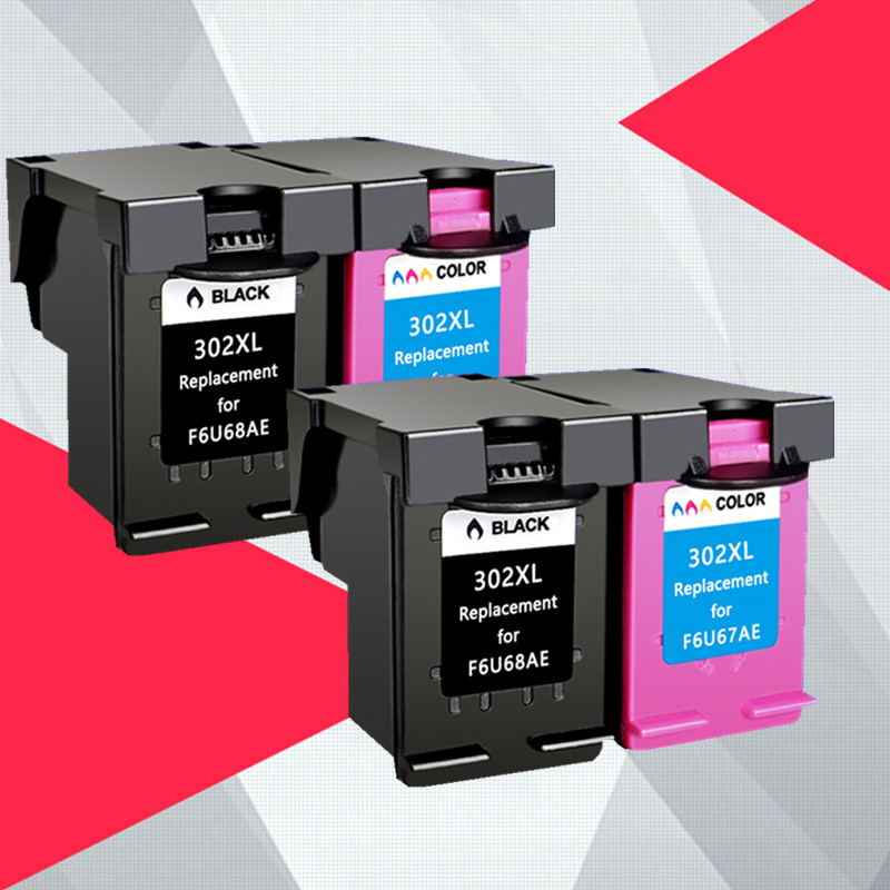 4PK Compatible 302XL Replacement for <font><b>HP</b></font> 302 for HP302 XL <font><b>Ink</b></font> Cartridge for <font><b>Deskjet</b></font> 1110 1111 1112 <font><b>2130</b></font> 2131 <font><b>printer</b></font> image