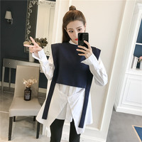 New Women Shirts Personality Vest Short After Longfore Mixing Blouse Shirt 8798