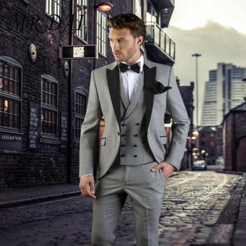 New Fashion Yellow Wedding Suits For Groom Men Tuxedo Jacket Slim Fit 3 Piece Suit Prom