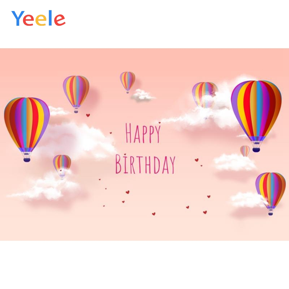 Yeele White Cloud Balloons Baby Birthday Portrait Wallpaper Photography Backdrop Customized Photographic Background Photo Studio