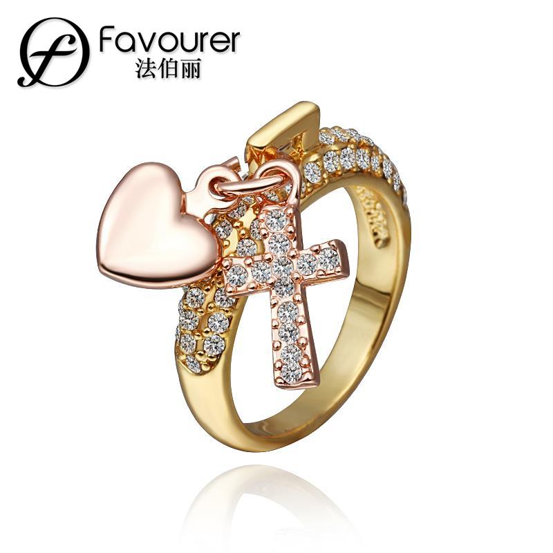 New Arrival! Fashion GP Gold Color Heart and Cross Sharp Mens & Women Jewelry Ring Yellow Gold Golden Finger Ring Free Shipping