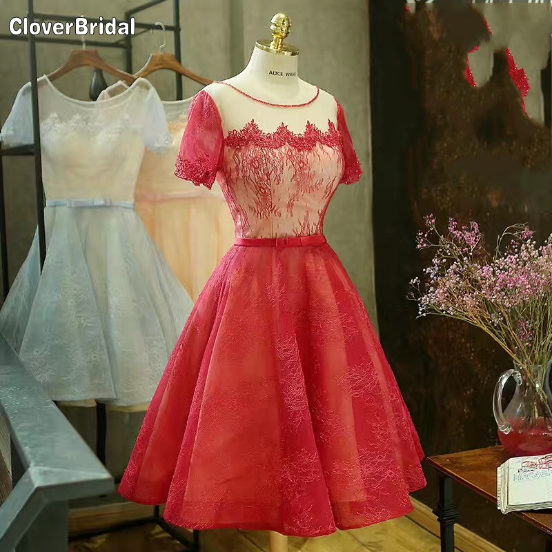 A-line short sleeves organza applique lace short red dresses for teens keyhole corset back with bow belt sky blue homecoming