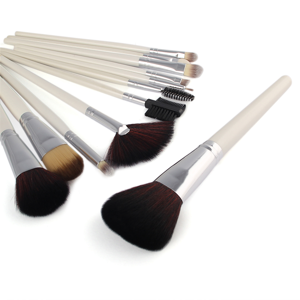 New Fashion 12pcs Pro Soft Cosmetic Kit Foundation Powder Eyeliner  Makeup Brush Tool Set With Bag Case