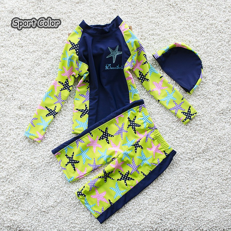 Lovely Starfish Kids Swimsuit Quality Boys Baby Swimwear Two-pieces Bath Suit Infant Blue Popular Sun Care Children Beachwear